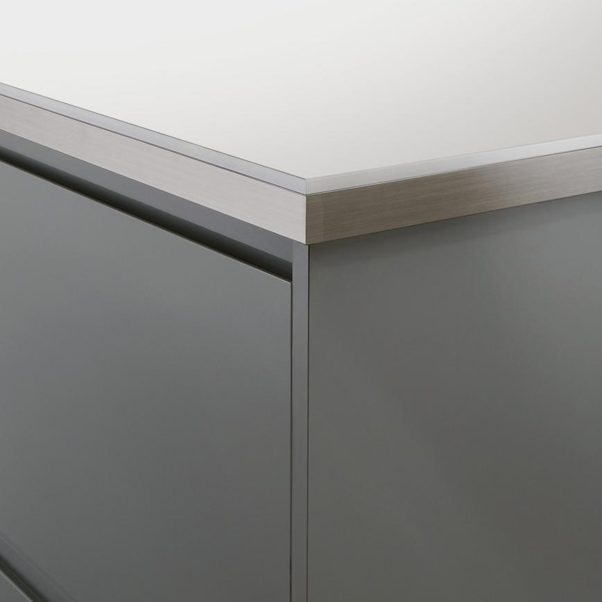 Howdens 3m X 38mm White Glass Effect Square Edge Laminate