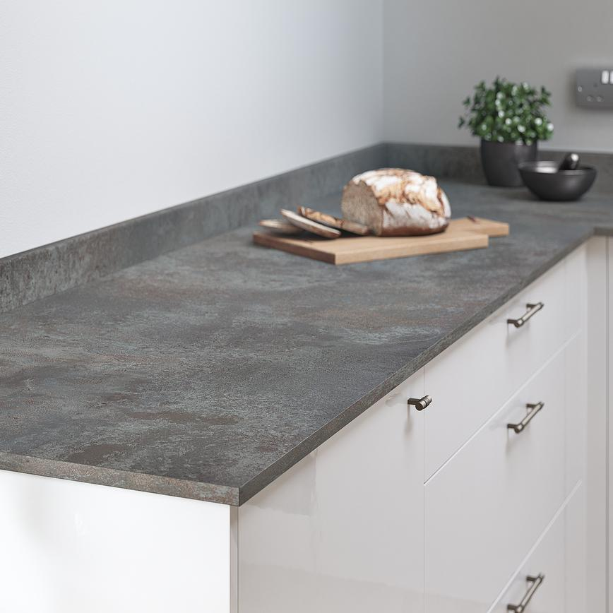 Oxidised Metal Marble Worktop and Upstand