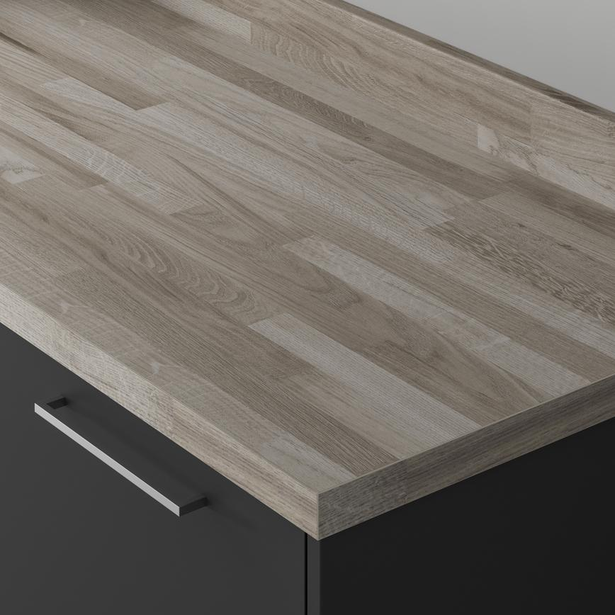 Authentic Grey Oak Block Effect Square Edged Worktop and Upstand