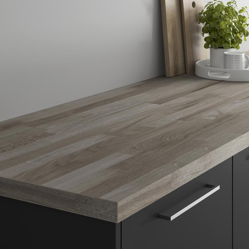 Authentic Grey Oak Block Effect Square Edged Worktop