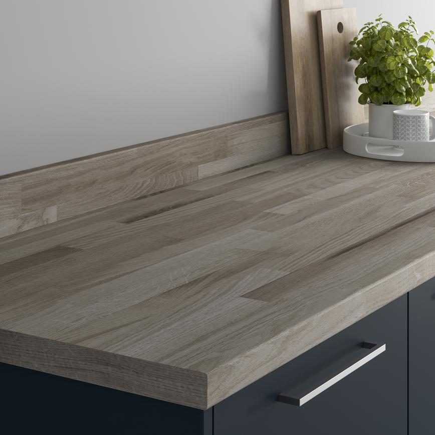 Authentic Grey Oak Block Effect Bullnose Worktop and Upstand