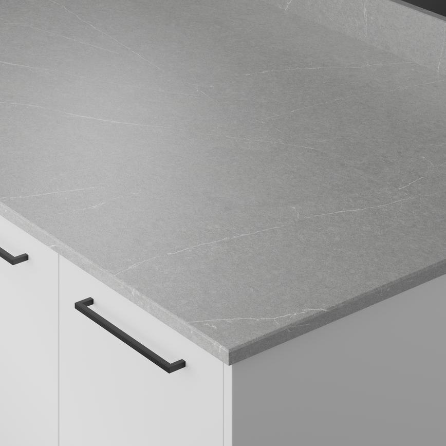 Light Grey Marble Effect Suede Quartz Worktop and Upstand