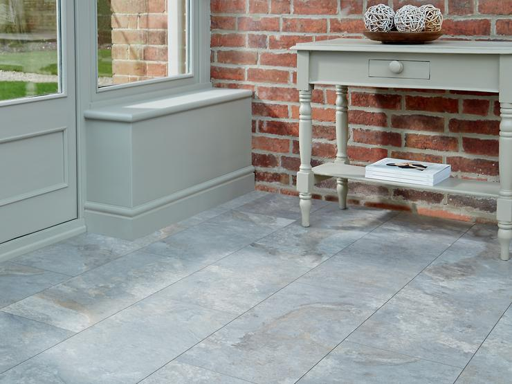 Howdens Professional Fast Fit V Groove Grey Slate tile