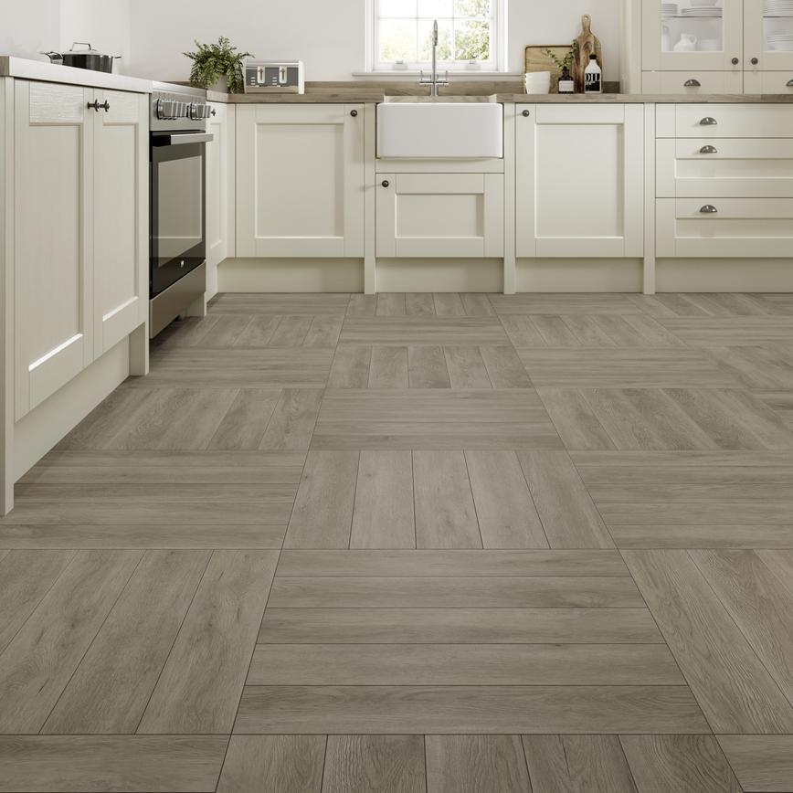 herringbone premium vinyl flooring in Pearl Grey