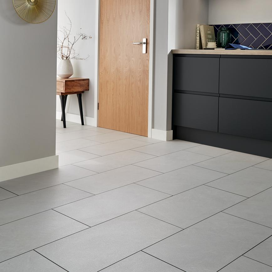 Howdens Professional Fast Fit V Groove White Slate Tile Effect Flooring 2 52sq M