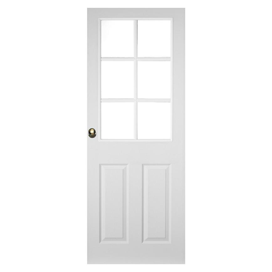 Howdens Colonial Pre-finished Grained 6 Panel 6 Light Moulded Glazed Door