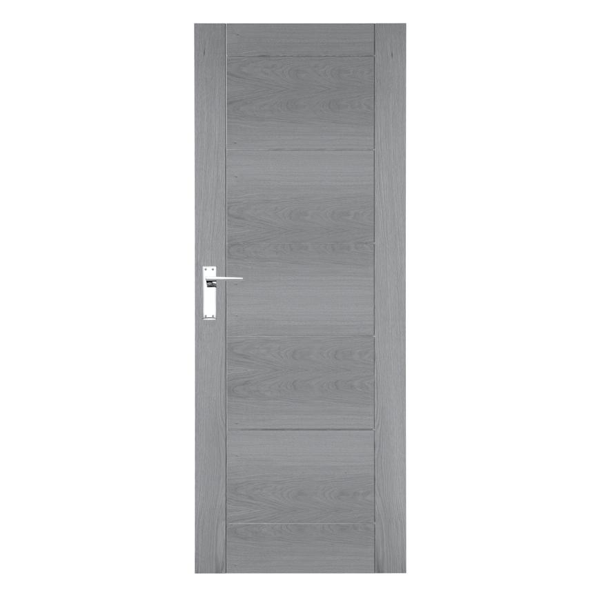 Mid Grey Pre-Finished Linear Oak Door RT2 (cutout)