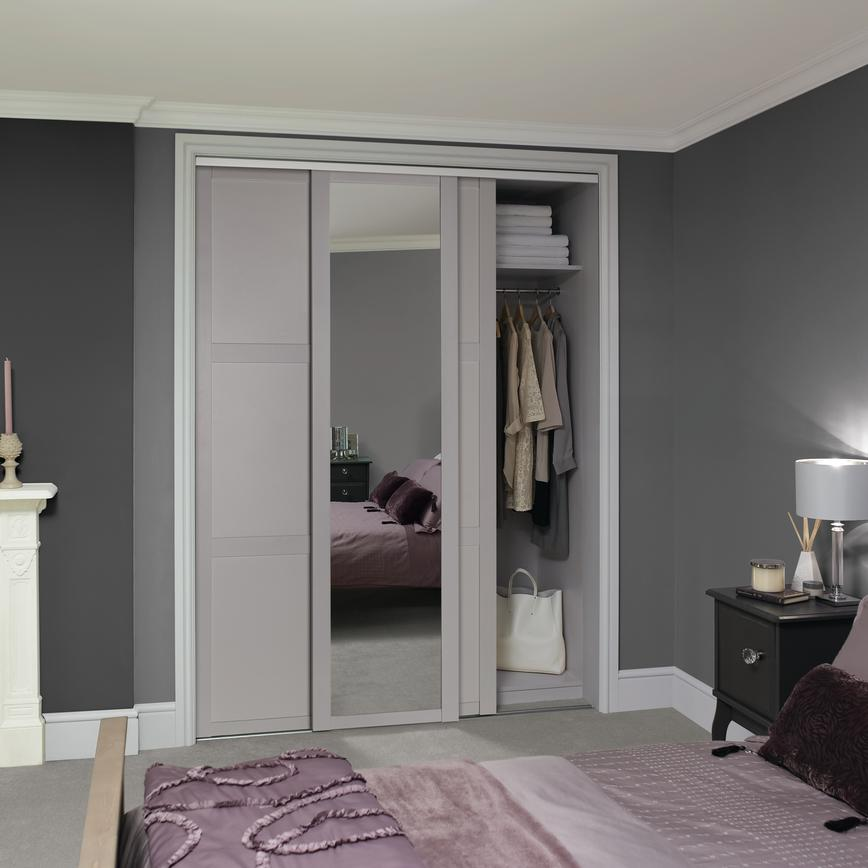 Shaker Dove Grey Mirror Panel Sliding Wardrobe Door Howdens