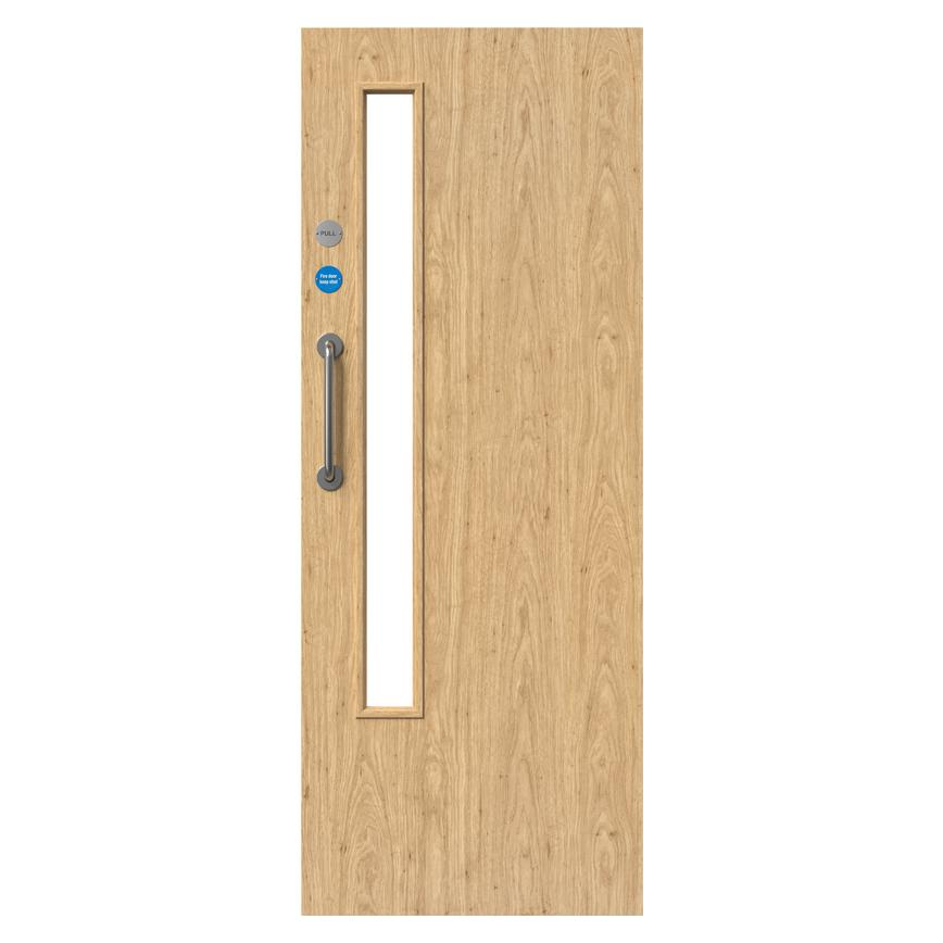 Howdens Llandow Oak Foil Flush 20G Glazed Fire Door FD30