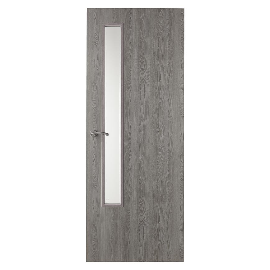 Howdens Buckmore Light Grey Oak Foil Flush 20G Glazed FD30 Fire Door