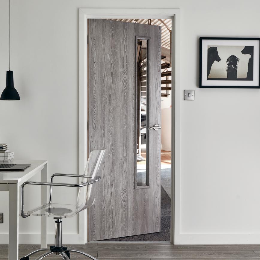 internal flush light grey oak foil clear glazed fire door. Black Bedroom Furniture Sets. Home Design Ideas