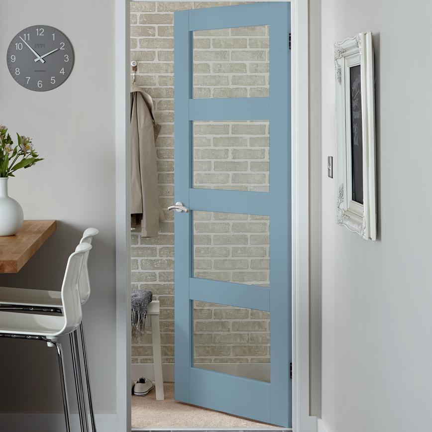 Primed Four Panel Shaker Glazed Internal Door Howdens