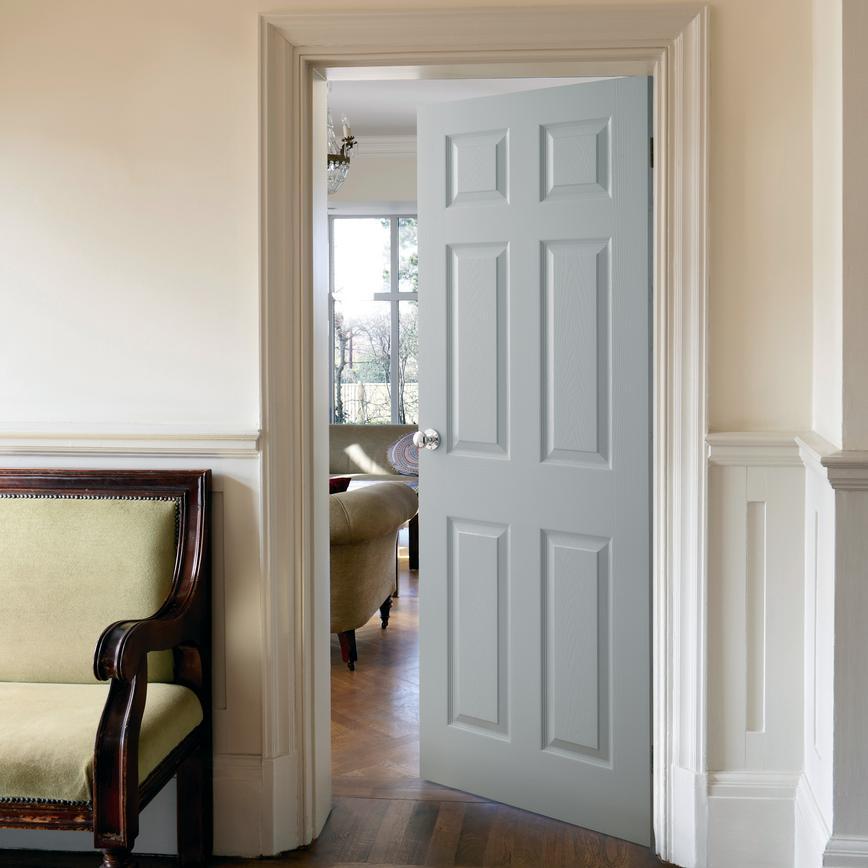 internal 6 panel grained fire door fd30 howdens. Black Bedroom Furniture Sets. Home Design Ideas