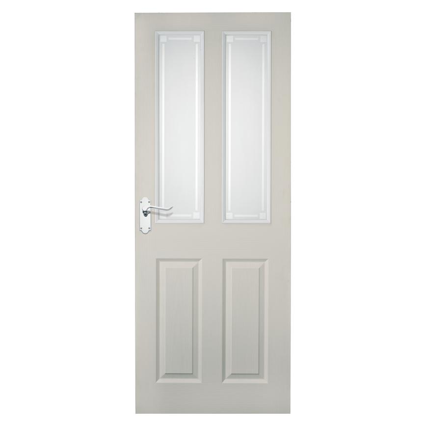 Howdens Thruxton Grained 4 Panel 2 Light Moulded Glazed Door
