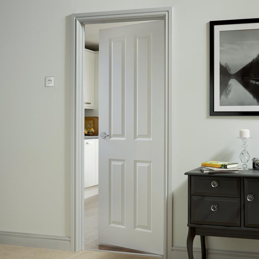 internal 4 panel smooth fire door fd30 howdens. Black Bedroom Furniture Sets. Home Design Ideas