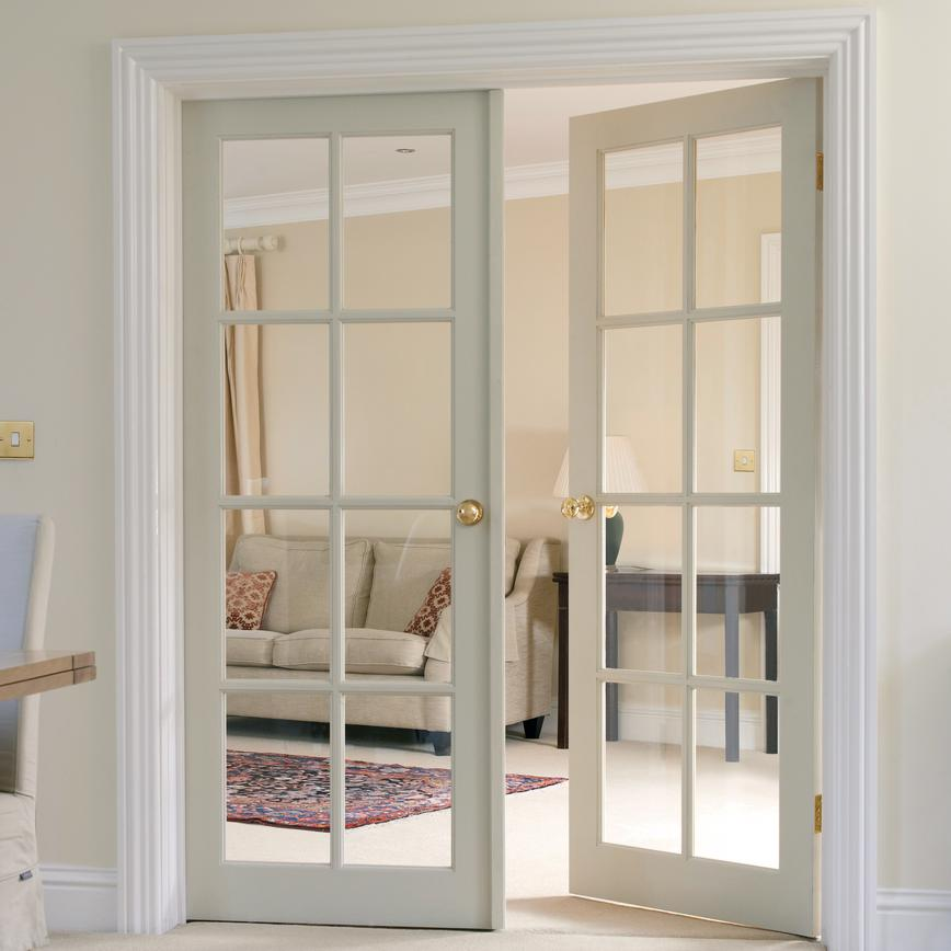 Howdens French Doors: Clear Pine Eight Light Glazed Internal Door