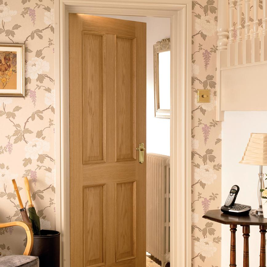 Internal 4 Panel Oak Fire Door Fd30 Howdens Joinery