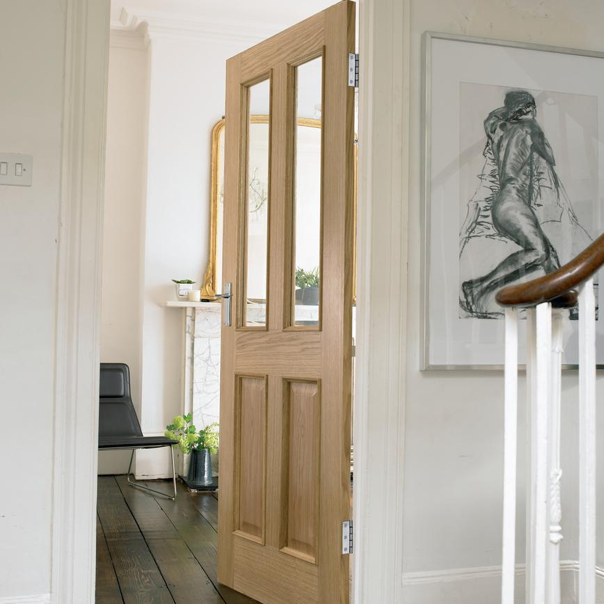 Howdens French Doors: Four Panel Oak Two Light Internal Glazed Door