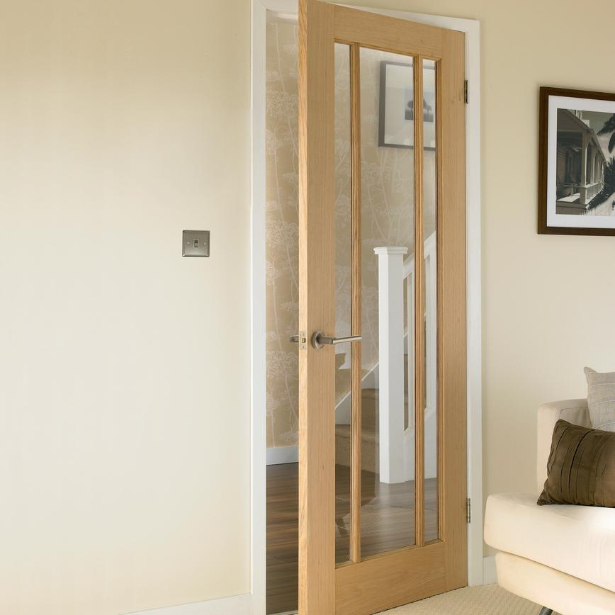 Howdens French Doors: DIC6560 - Worcester Oak Glazed Internal Door