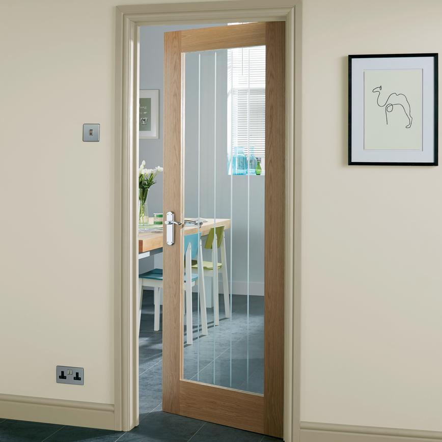 Genoa Oak Glazed Internal Door Howdens Joinery