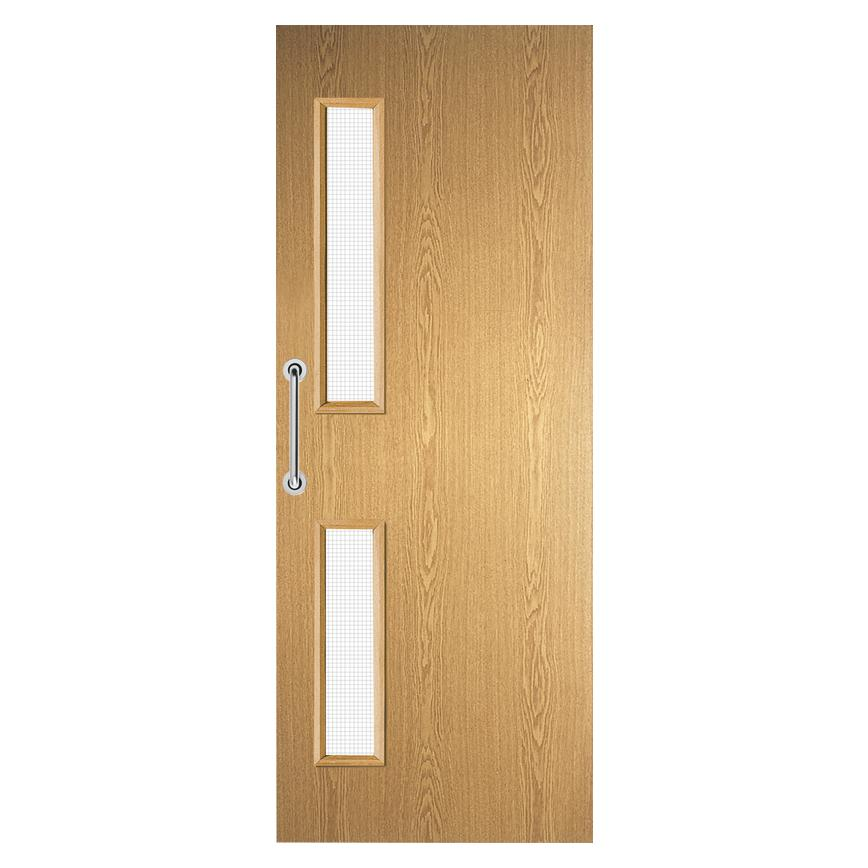 Howdens Oak Foil Flush 16G Glazed Fire Door FD30