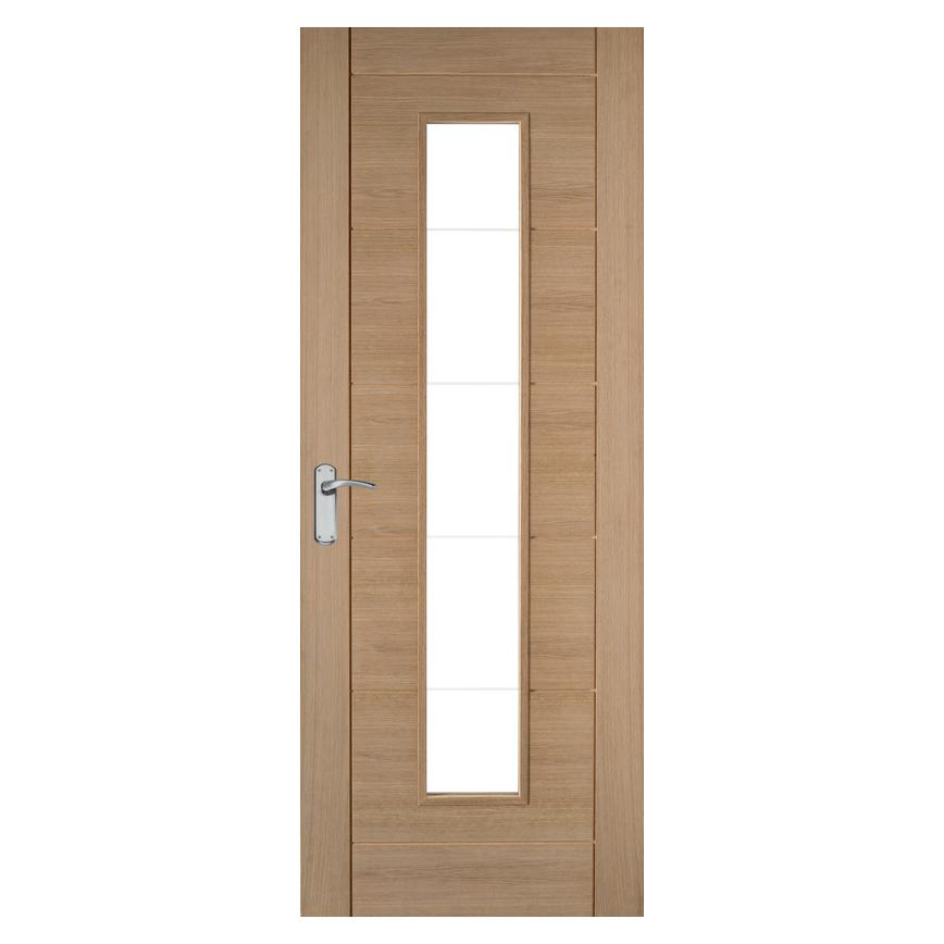 Howdens Linear Oak Glazed Door