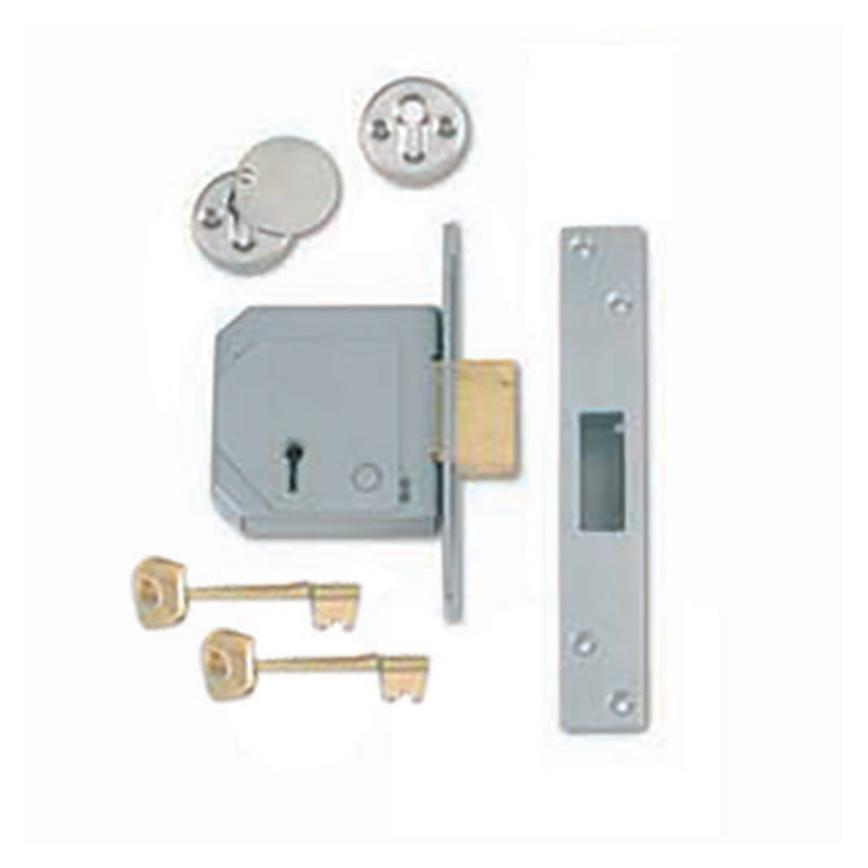 ERA Polished Brass 67mm Case 44mm Backset 3 Lever Mortice Deadlock