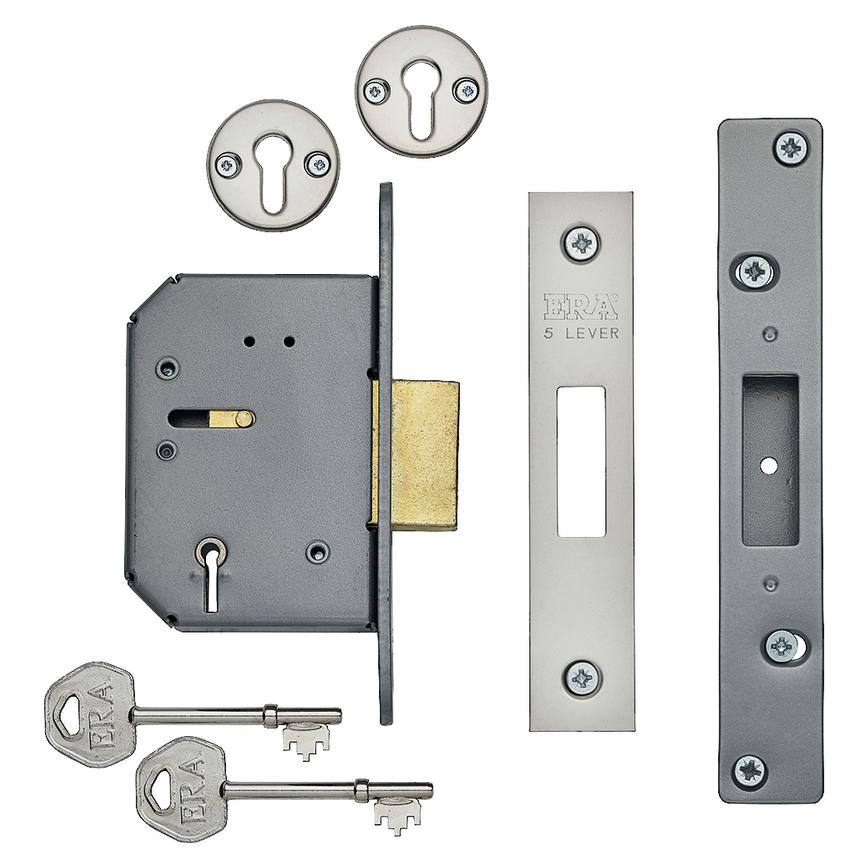 ERA Satin Chrome 79mm Case 57mm Backset 5 Lever Mortice Deadlock