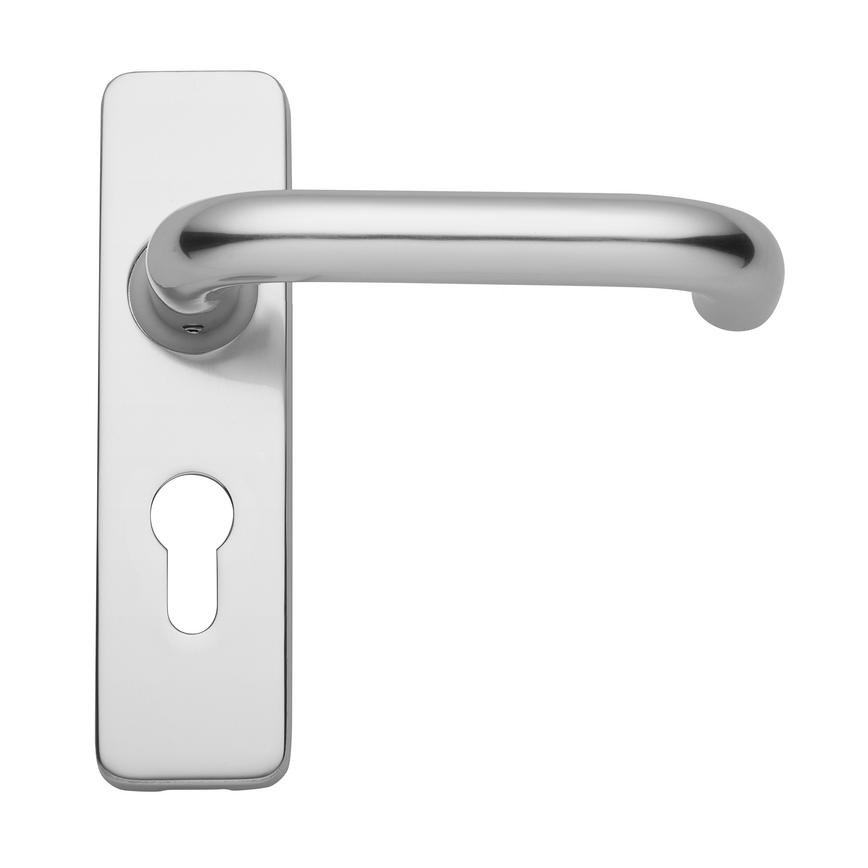 Round Bar Budget Lever on Backplate Euro Lock Aluminium Door Handle