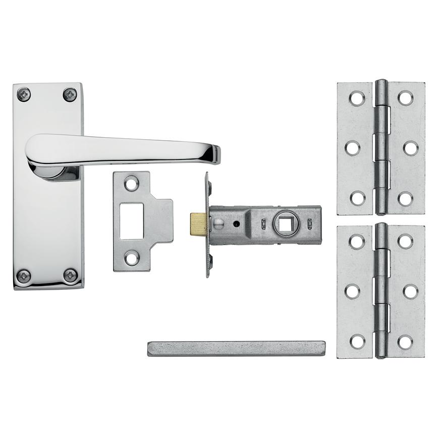 Victorian Chrome Latch Handle Pack