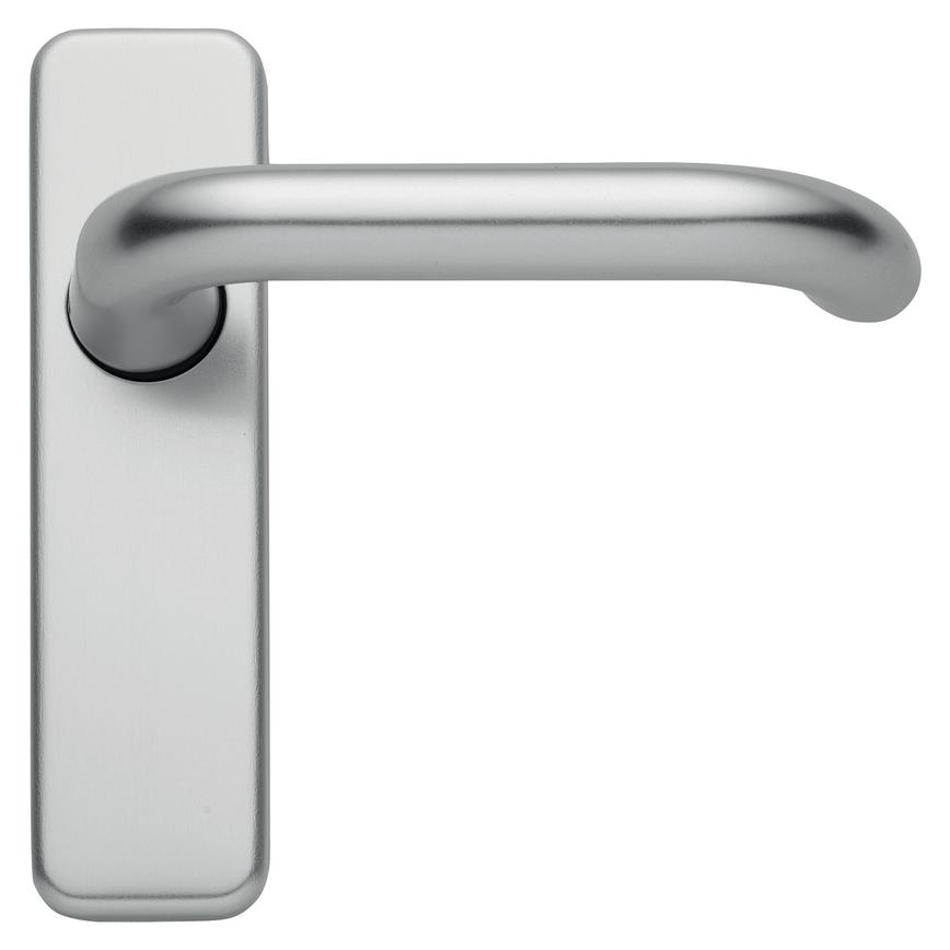 Round Bar Lever on Backplate Satin Aluminium Door Handle Pair