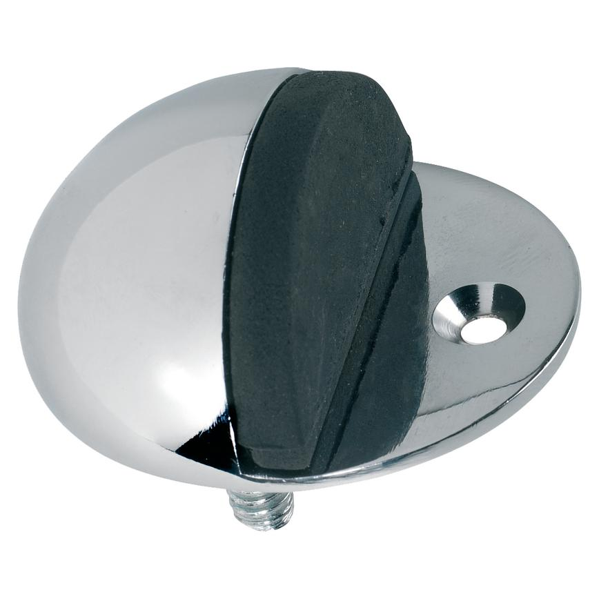 Polished Chrome Floor Mounted Oval Door Stop