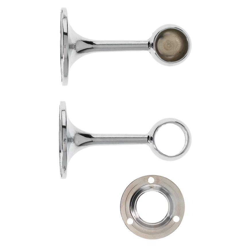 Chrome Round End and Centre Brackets with Socket