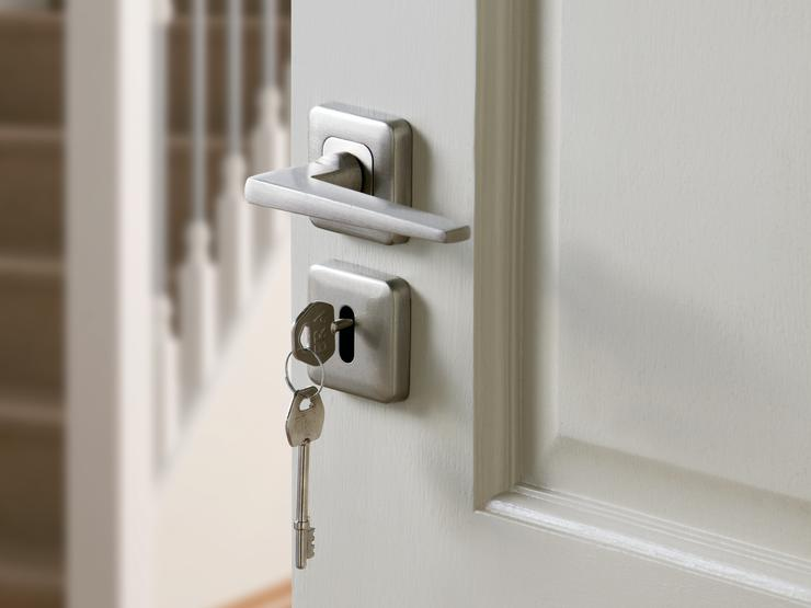 Lugano Satin Nickel Rose Handle and Satin Nickel Square Escutcheon