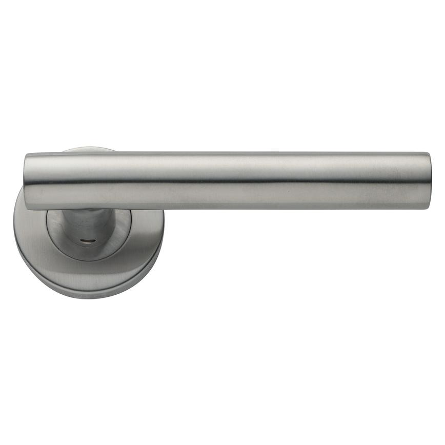 Lecco Lever on Rose Satin Stainless Steel Door Handle Pair