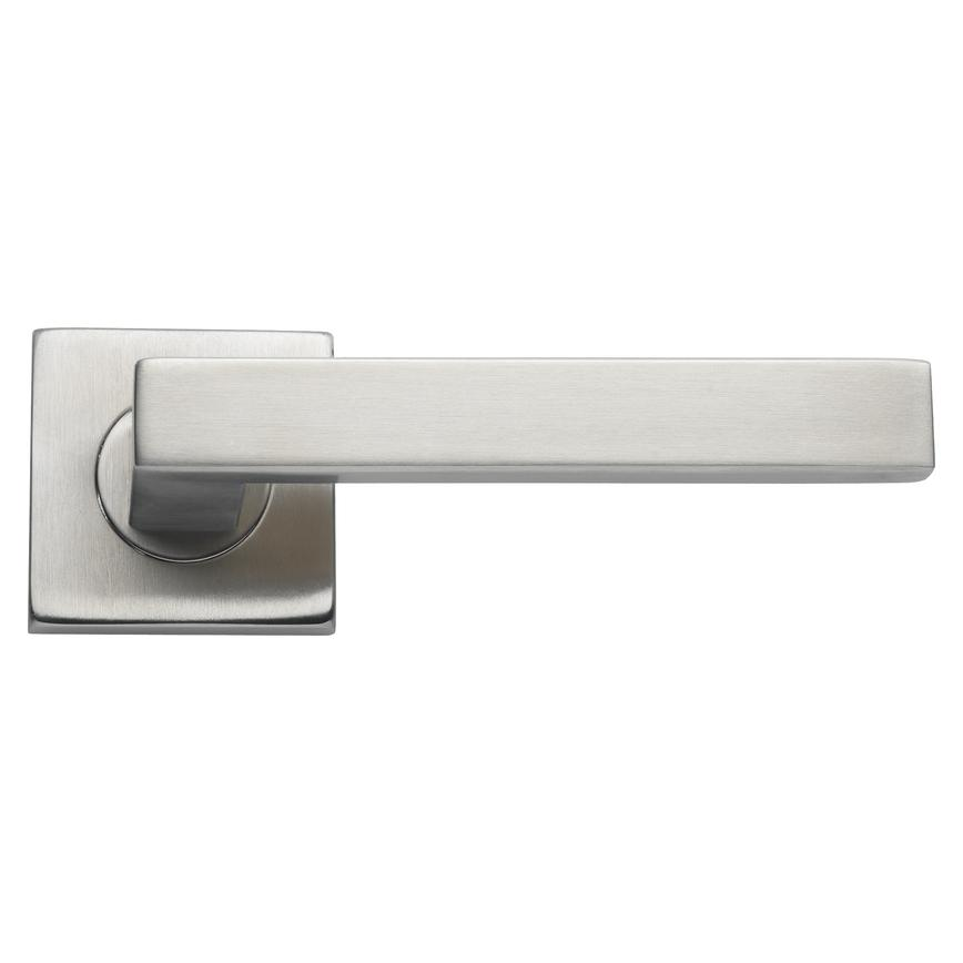Burford Lever on Rose Brushed Stainless Steel Door Handle Pair