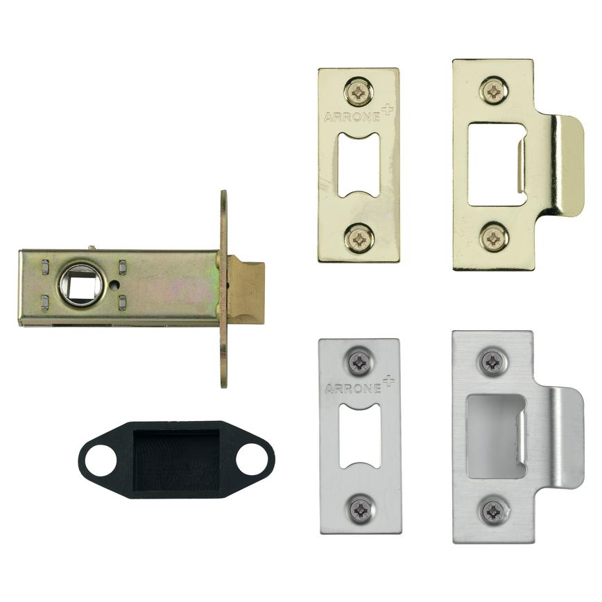 "Premium Tubular Mortice Latch 2 1/2""/3"" Polished Brass/Polished Stainless Steel"