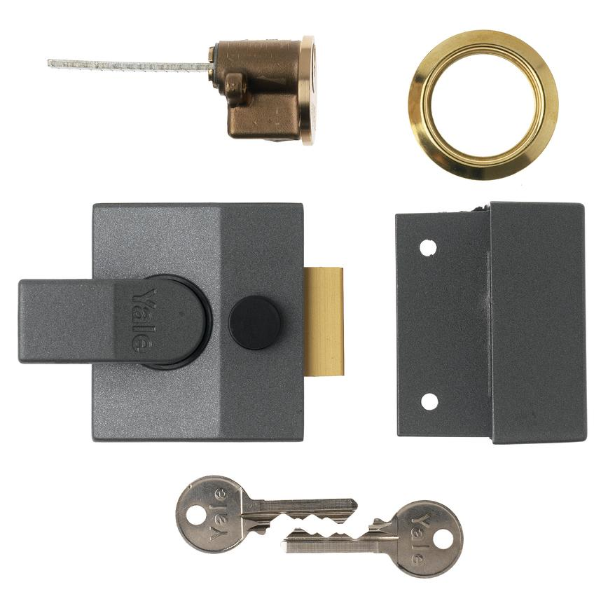 Yale 84/88 (BS 40mm/60mm) Grey Case/Brass Cylinder Nightlatch