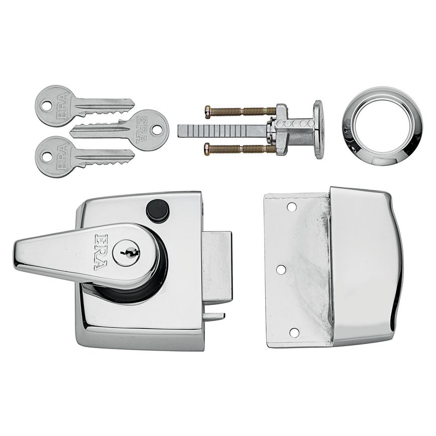 ERA Double Locking Nightlatch Chrome Case & Cylinder (40mm & 60mm backset)