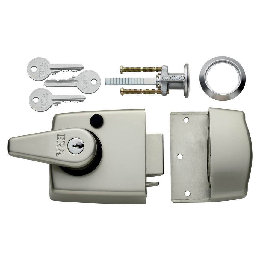 ERA Double Locking Nightlatch Satin Nickel Case & Cylinder (40mm & 60mm backset)