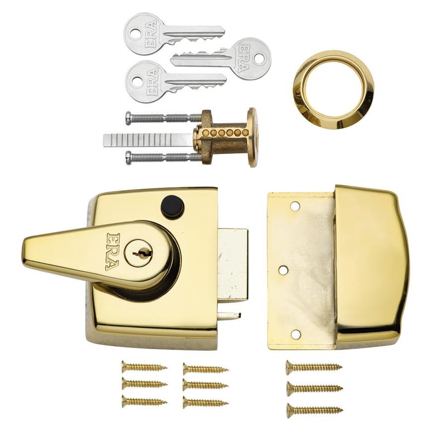 ERA Double Locking Nightlatch Brass Case & Cylinder (40mm & 60mm backset)