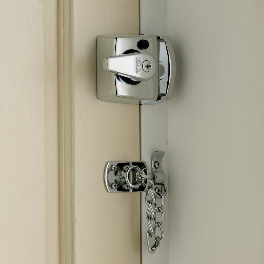 ERA BS Double Locking Nightlatch Chrome Case & Cylinder