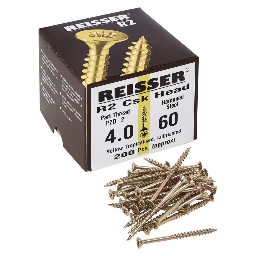 Reisser R2 Pozi Countersunk Yellow Passivated Woodscrews Pack of 200
