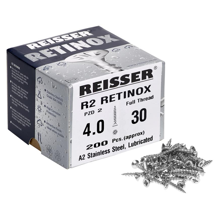 Reisser R2 Retinox 4 x 30mm Screws