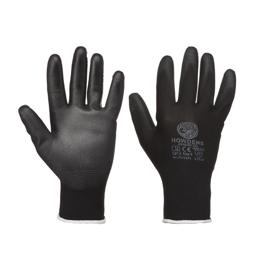 Howdens PU Coated Non Disposable Black Large General Handling Glove