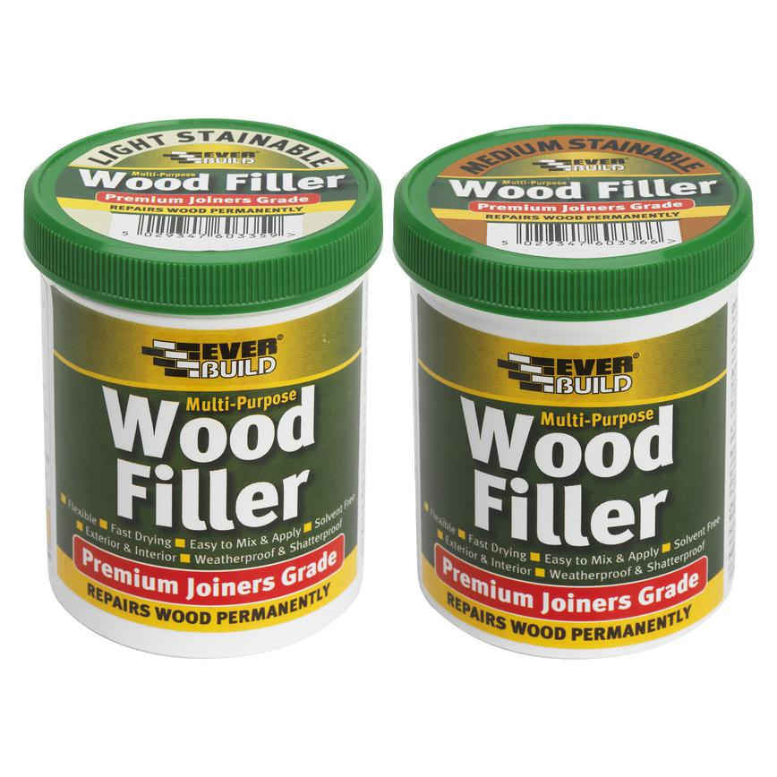 Stainable Wood Filler Light 250ml and Stainable Wood Filler Medium 250ml
