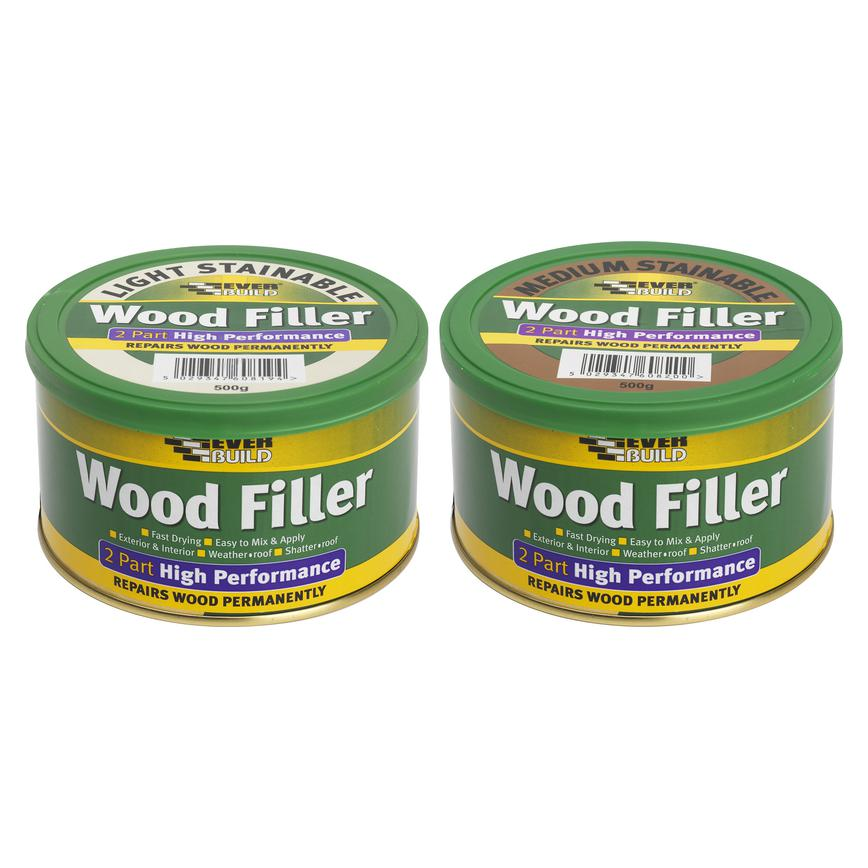 2 Part Stainable Wood Filler Light 500g and 2 Part Stainable Wood Filler Medium 500g