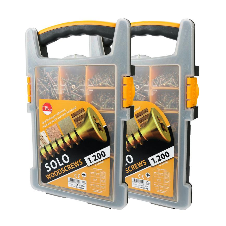 Solo Pozi Double Countersunk Yellow Passivated Trade Pack 1200 Piece Set Pack of 2