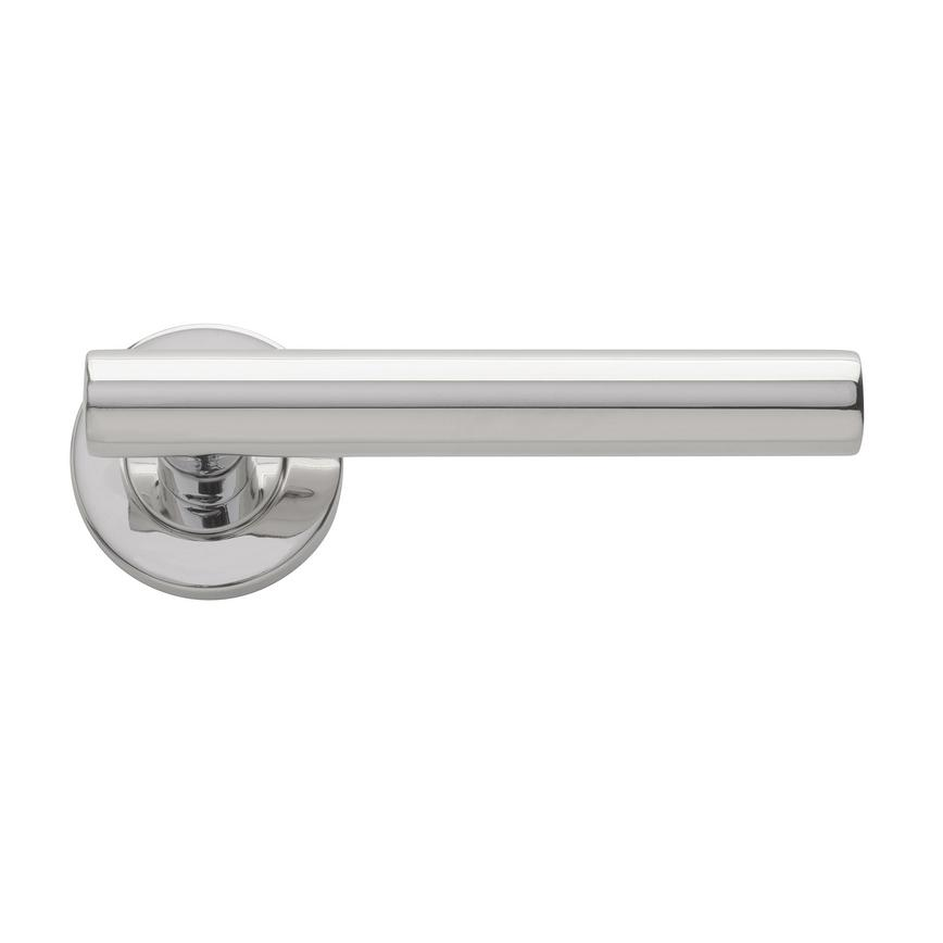 Eclipse Lecco Lever on Rose Polished Stainless Steel Door Handle Single