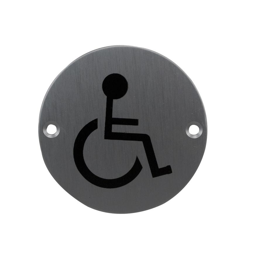 Eclipse Disabled Symbol Signage 76mm - Satin Anodised Aluminium